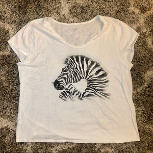 LOFT Tops - Loft Outlet Zebra Print White Tee Shirt